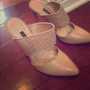 New French Connection Perforated Nude Pumps Heels